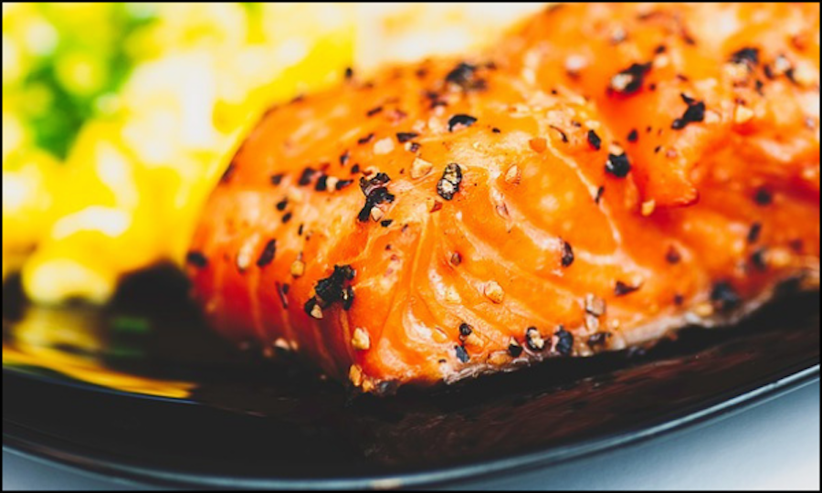 Sesame Seed-Crusted Salmon With Green Beans and Orange Miso Sauce