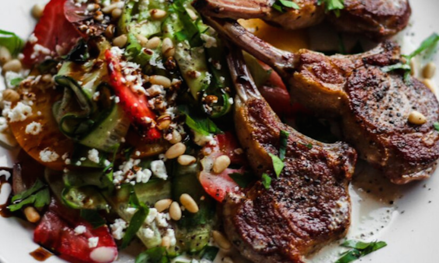 Grilled Lamb Chops With Strawberry, Cucumber & Feta Salad