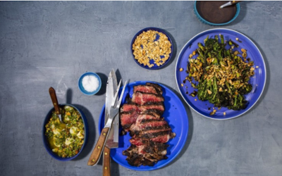 Grilled Rib-Eye Steak With Pistachio Gremolata and Charred Balsamic Broccolini